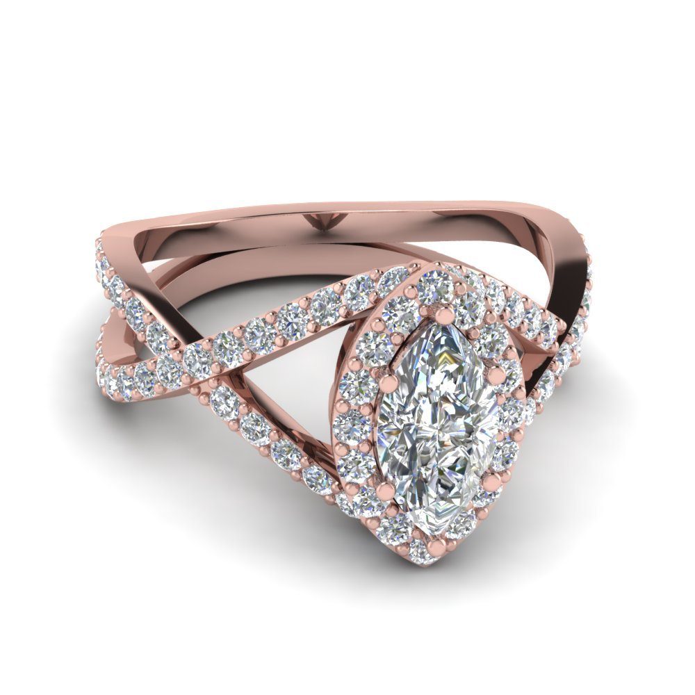 Entwined Halo Diamond Engagement Ring In 14K Rose Gold