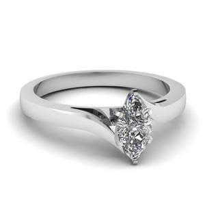 Twisted Marquise Cut Solitaire Ring