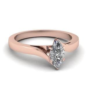 18K Rose Gold Solitaire Twisted Ring