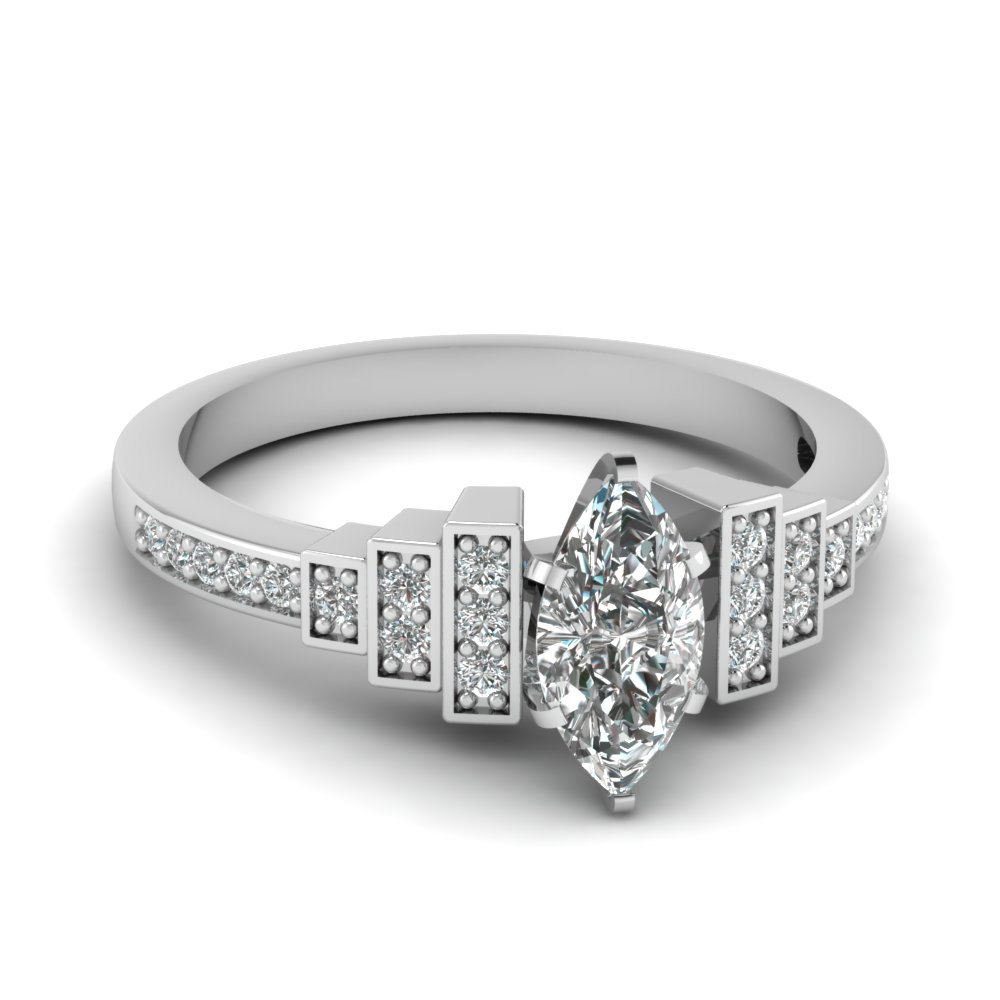 Marquise Art Deco Pave Engagement Ring