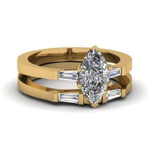 Marquise Shaped Diamond Wedding Ring Set In 18K Yellow GoldMarquise Shaped Diamond Wedding Ring Set In 18K Yellow Gold