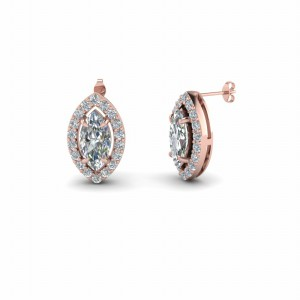 Marquise Shaped Halo Diamond Stud Gold Earring In 14K Rose Gold