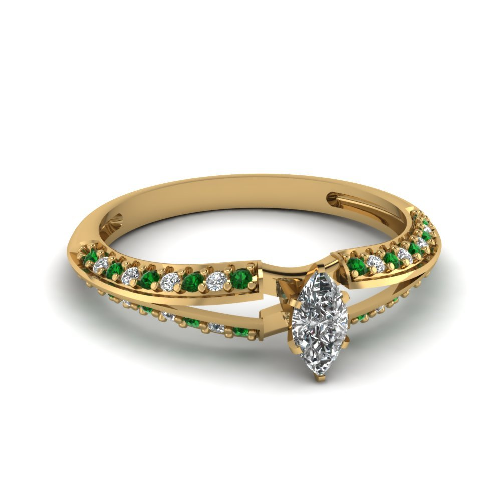 Marquise Shaped Petite Split Shank Diamond Engagement Ring With Emerald In 18K Yellow Gold