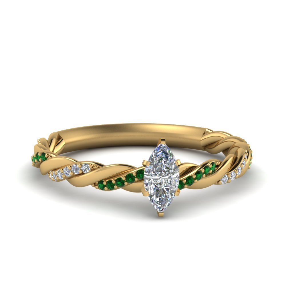 Twisted Delicate Marquise Cut Diamond Engagement Ring With Emerald In 18K Yellow Gold