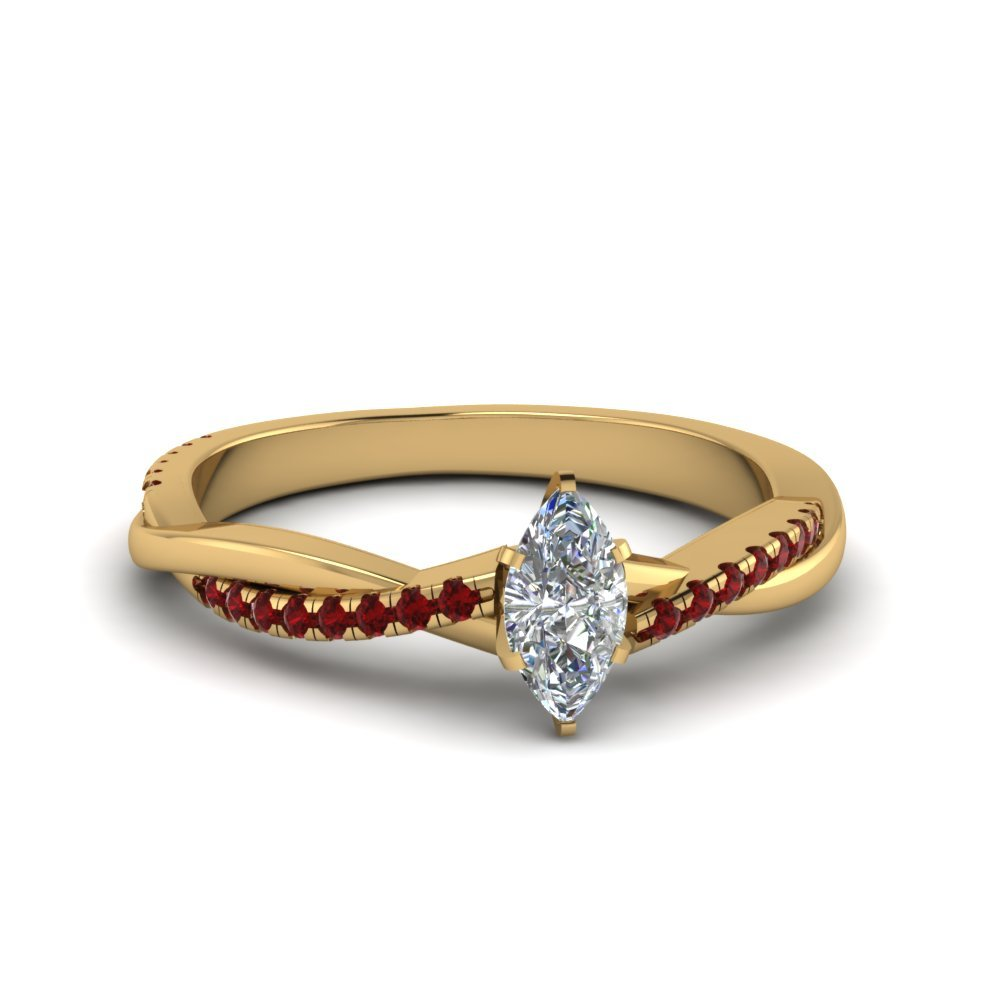 Marquise Shaped Twisted Vine Diamond Ring With Ruby In 18K Yellow Gold