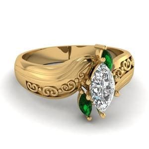 Past Present Future Emerald Ring