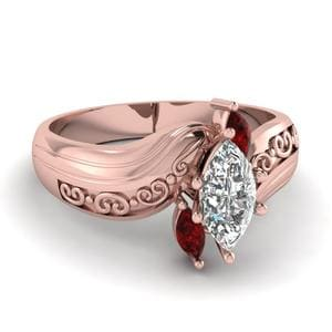 Engraved 3 Stone Ruby Ring