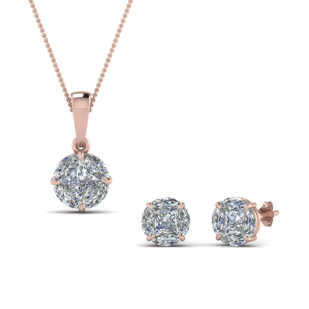 18K Rose Gold Matching Earring And Pendant