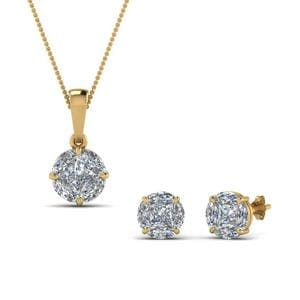 18K Yellow Gold Matching Earring And Pendant