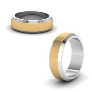 Mens 2 Tone Wedding Band In 14K Yellow Gold