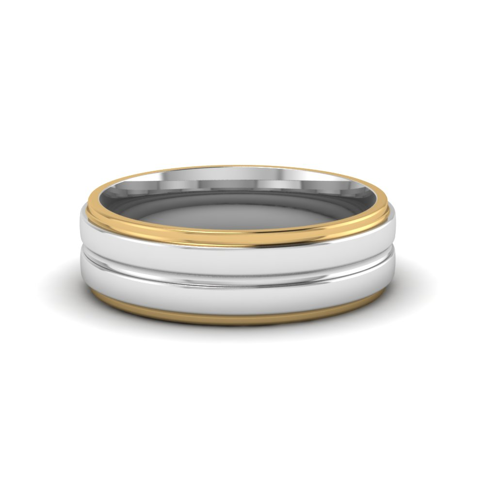 Mens Two Tone Wedding Bands In 14K Yellow Gold