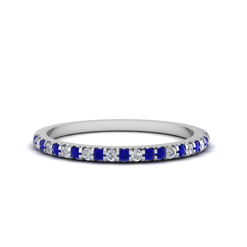 Blue Sapphire Thin Diamond Band