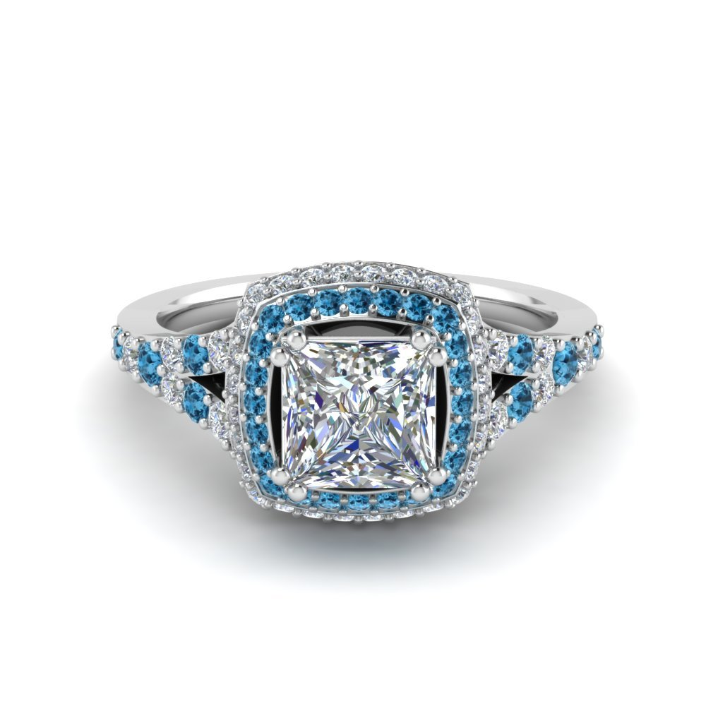 Micropave Princess Cut Diamond Halo Engagement Ring With Blue Topaz In 950 Platinum