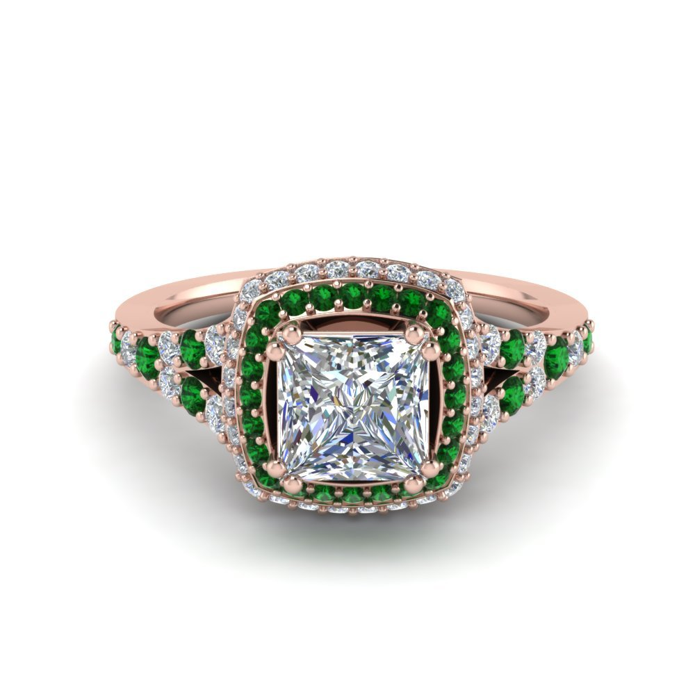 Micropave Princess Cut Diamond Halo Engagement Ring With Emerald In 18K Rose Gold