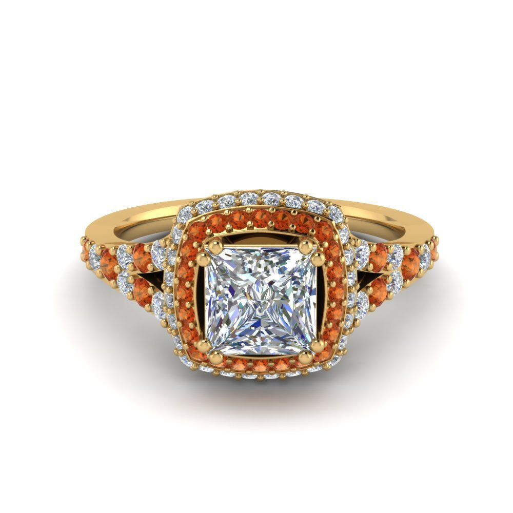 Micropave Princess Cut Diamond Halo Engagement Ring With Orange Sapphire In 14K Yellow Gold