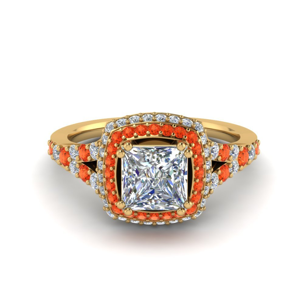 Micropave Princess Cut Diamond Halo Engagement Ring With Orange Topaz In 14K Yellow Gold