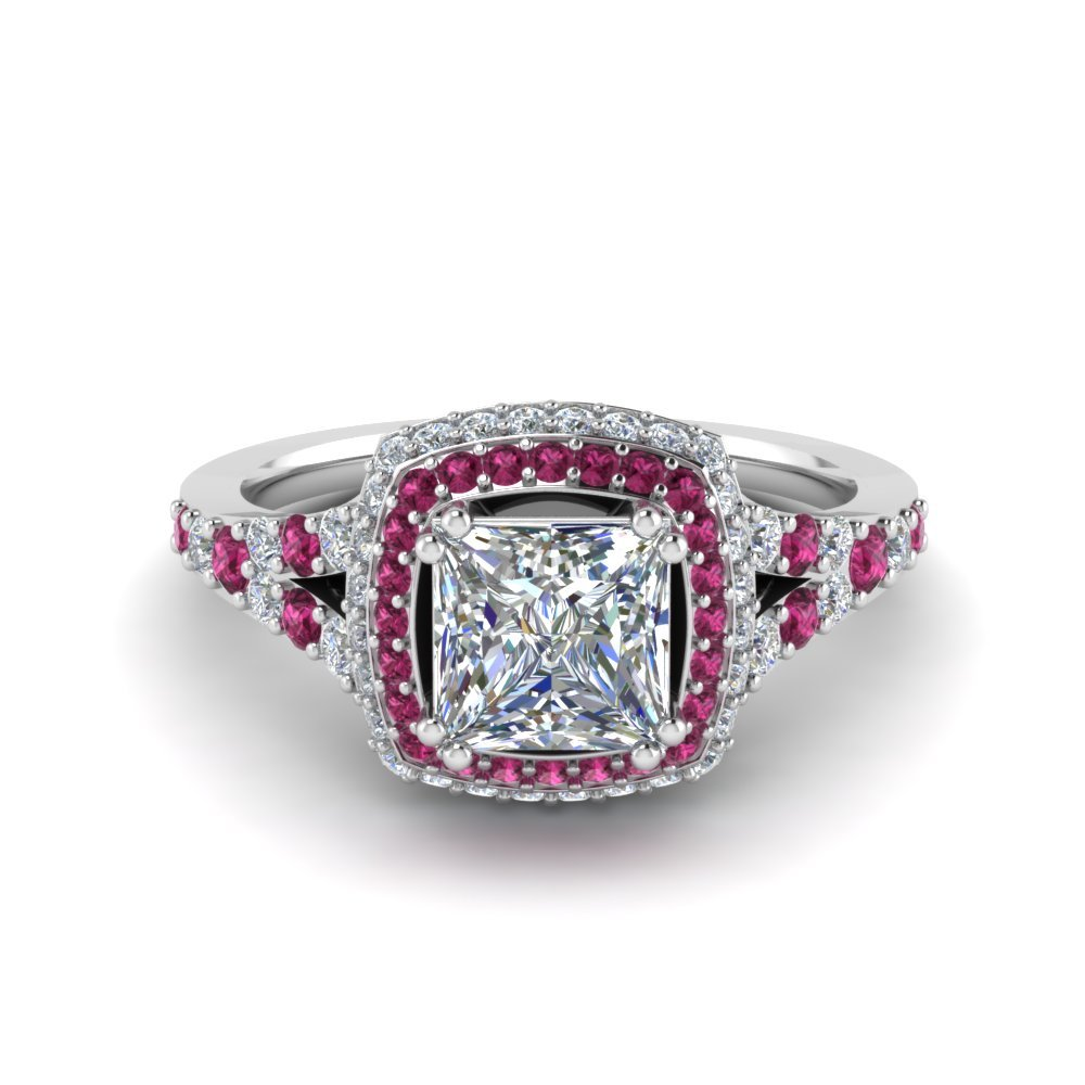 Micropave Princess Cut Diamond Halo Engagement Ring With Pink Sapphire In 14K White Gold