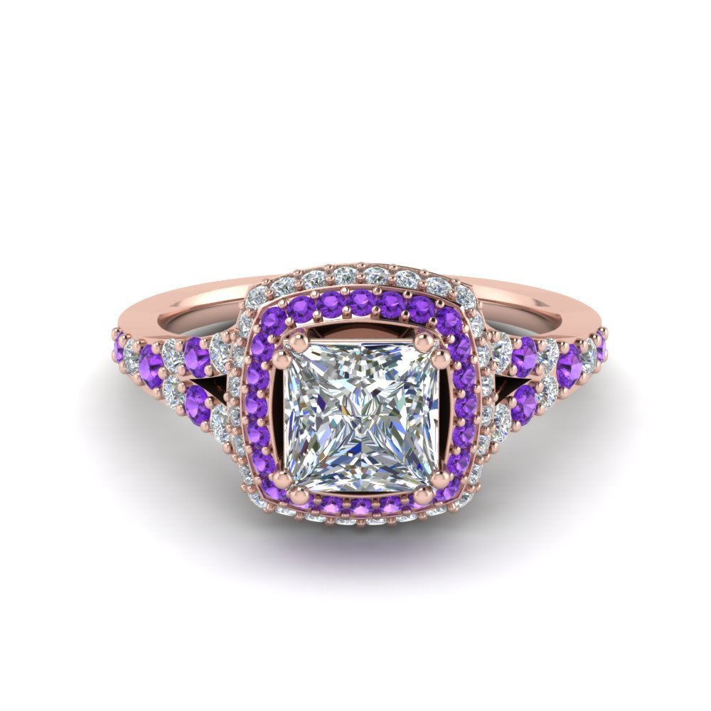 Micropave Princess Cut Diamond Halo Engagement Ring With Purple Topaz In 14K Rose Gold
