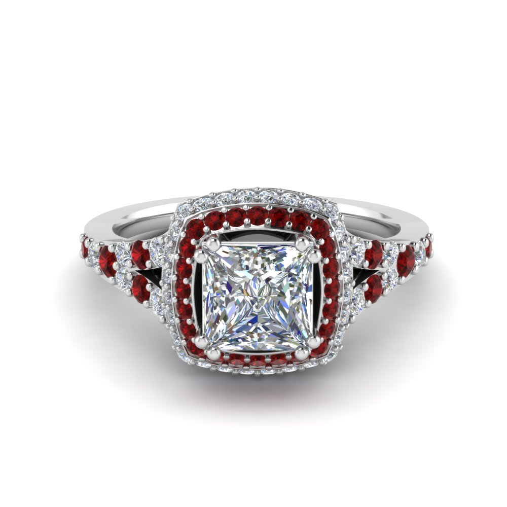 Micropave Princess Cut Diamond Halo Engagement Ring With Ruby In 18K White Gold
