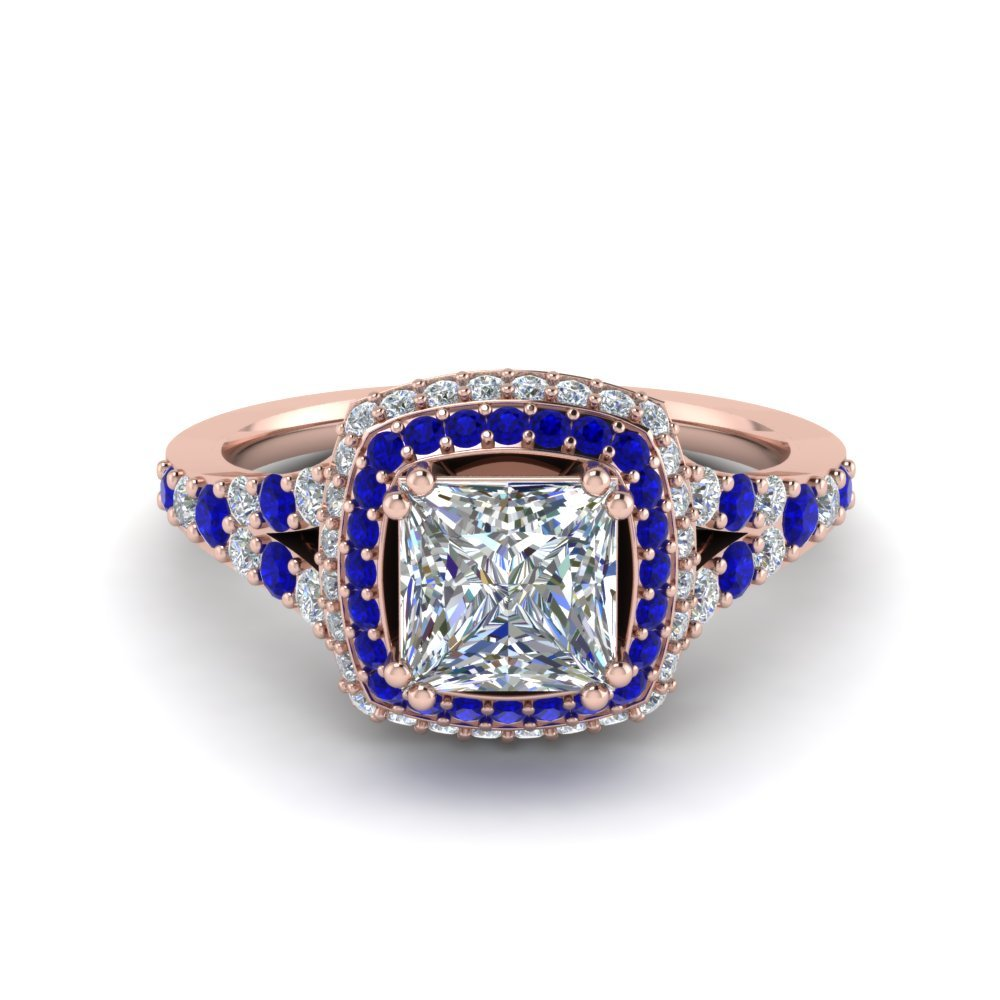 Micropave Princess Cut Diamond Halo Engagement Ring With Sapphire In 14K Rose Gold