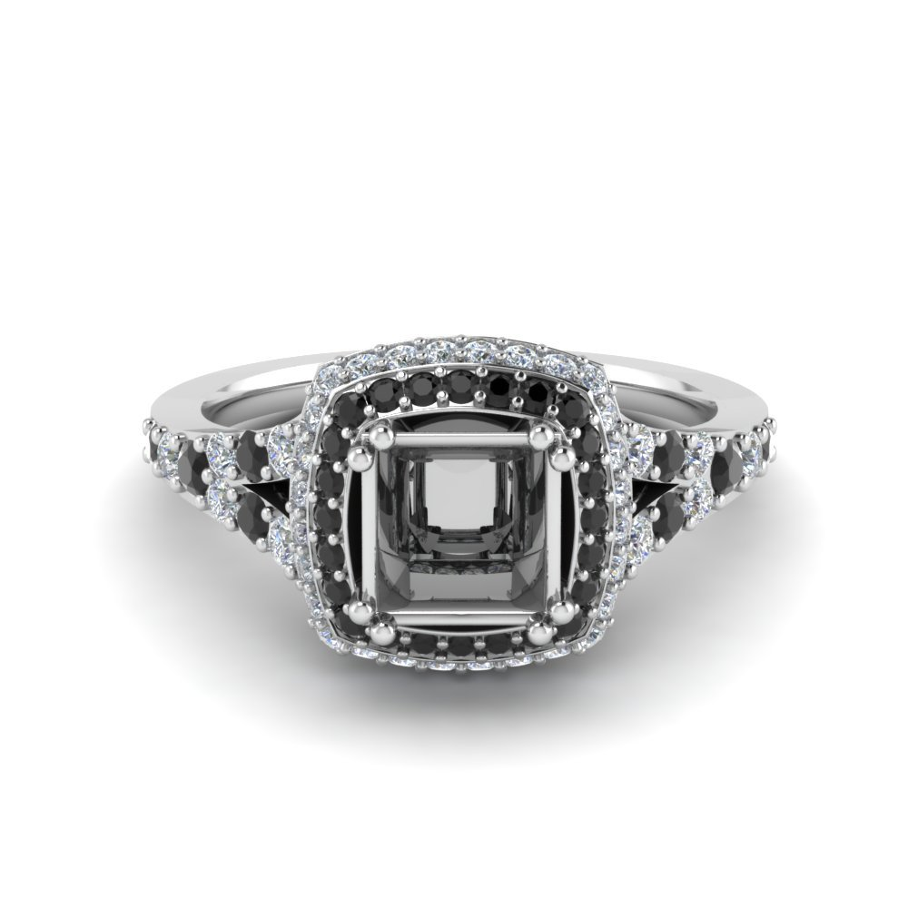 Micropave Princess Cut Halo Engagement Ring With Black Diamond In 14K White Gold