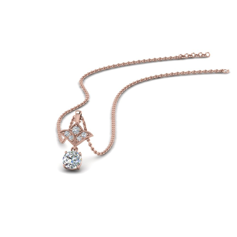 Milgrain 0.25 Ct. Round Diamond Drop Pendant In 18K Rose Gold