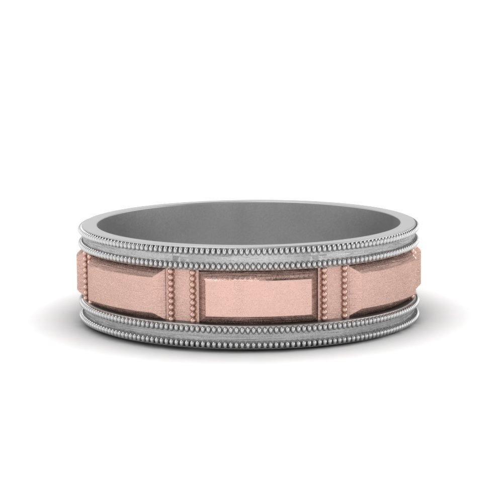 Milgrain 2 Tone Block Wedding Ring