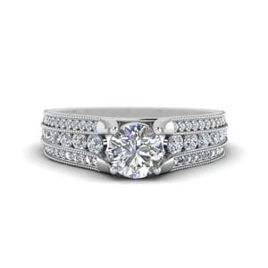 Milgrain 3 Row Diamond Engagement Ring In 950 Platinum