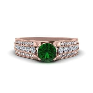 Milgrain 3 Row Emerald Ring