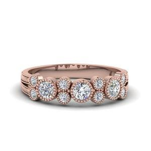Milgrain Bezel Round Diamond Band In 14K Rose Gold