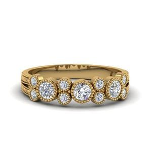 Milgrain Bezel Round Diamond Band In 14K Yellow Gold