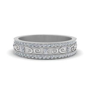 Milgrain Channel Diamond Wedding Band In 14K White Gold