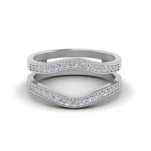 Milgrain Contour Diamond Ring Guard In 14K White Gold