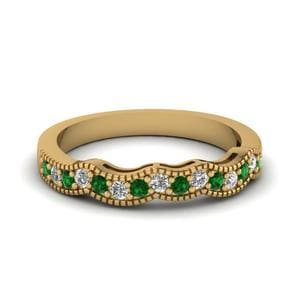 Emerald Art Deco Milgrain Band