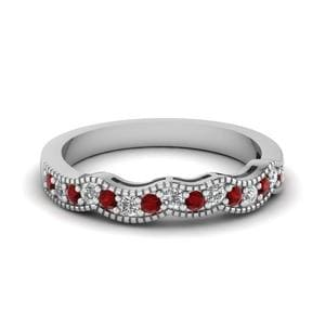 Ruby Milgrain Curve Women Band