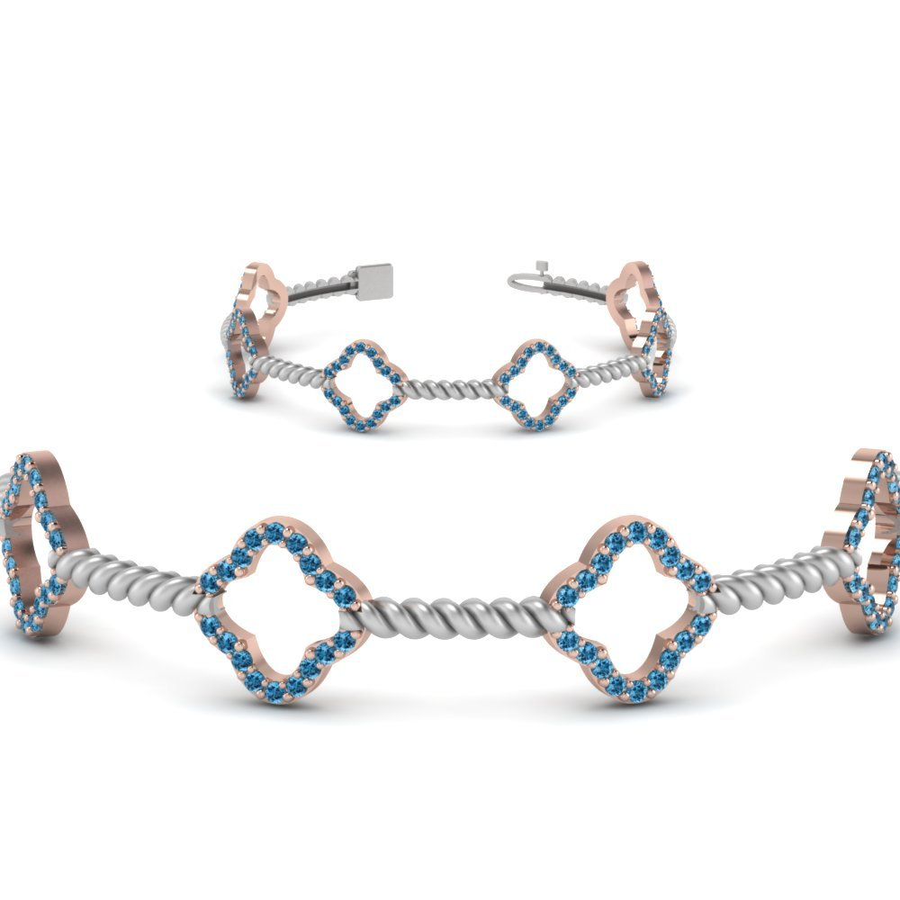 Geometric Blue Topaz Two Tone Bracelet