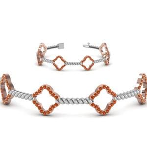 Milgrain Diamond 2 Tone Bracelet With Orange Sapphire In 14K Rose Gold