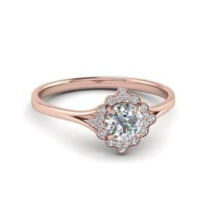 Milgrain Diamond Halo Engagement Ring In 14K Rose Gold