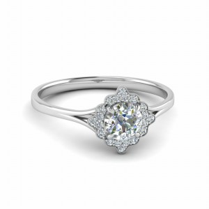 Milgrain Diamond Halo Engagement Ring In 950 Platinum