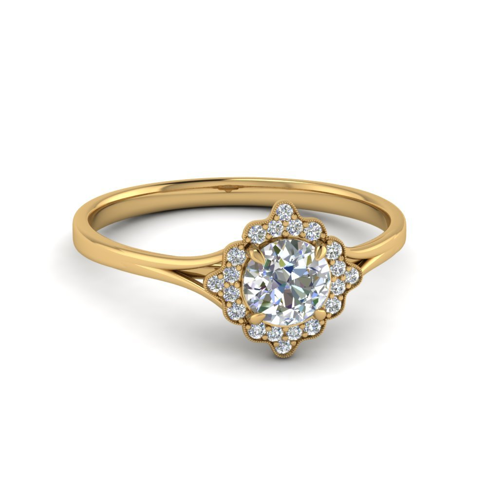 Milgrain Halo Engagement Ring