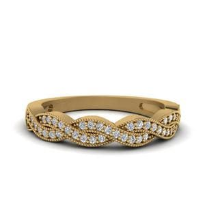 Milgrain Diamond Twisted Band In 14K Yellow Gold
