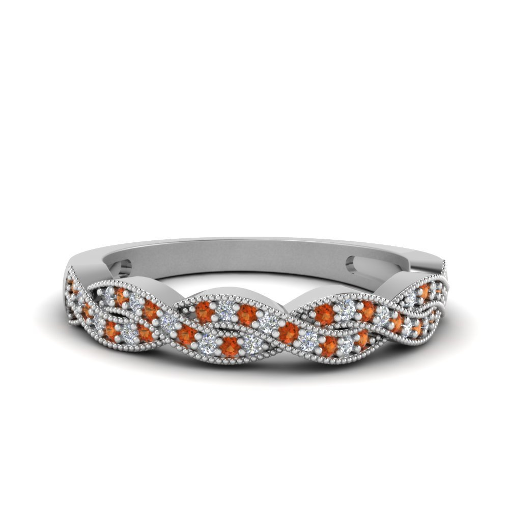 milgrain diamond twisted orange sapphire band