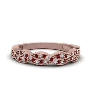 Milgrain Diamond Twisted Band With Ruby In 14K Rose Gold