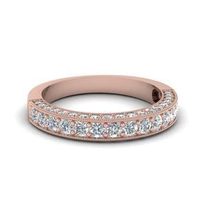 Milgrain Diamond Wedding Band In 18K Rose Gold
