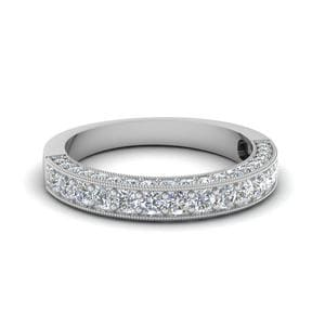 Milgrain Diamond Wedding Band In 950 Platinum