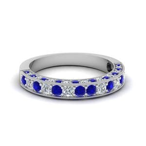 Milgrain Diamond Wedding Band With Sapphire In 14K White Gold