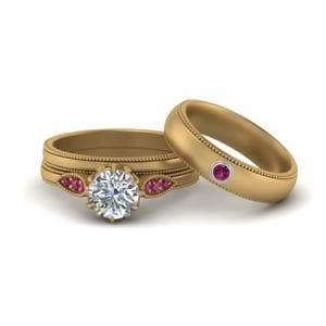 Pink Sapphire Couples Matching Set