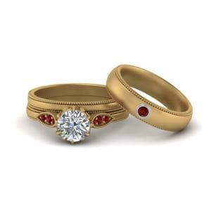 His And Hers Ruby Wedding Set