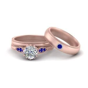 Sapphire Wedding Set For Couples