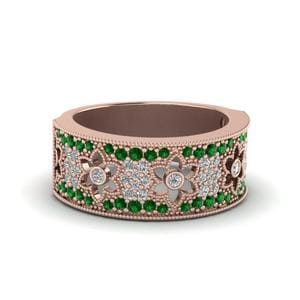 Floral Emerald Wedding Band
